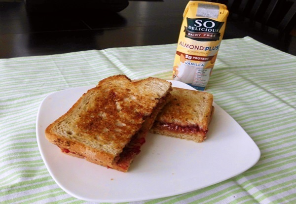 Crispy, Light Pan Fried Peanut Butter and Jelly Sandwich