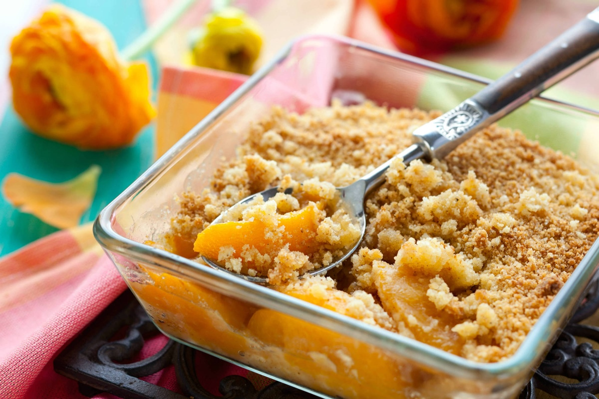 Cookie Peach Crisp Recipe - vegan, dairy-free, gluten-free and allergy-friendly!