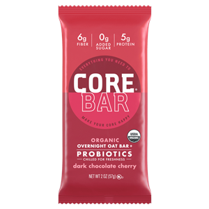 Core Bar Reviews and Info - Fresh Meal Bars, Organic, Vegan, Gluten-Free, Dairy-Free and Natural. With Prebiotics and Probiotics. Pictured: Dark Chocolate CHerry