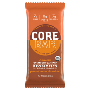 Core Bar Reviews and Info - Fresh Meal Bars, Organic, Vegan, Gluten-Free, Dairy-Free and Natural. With Prebiotics and Probiotics. Pictured: Peanut Butter Chocolate