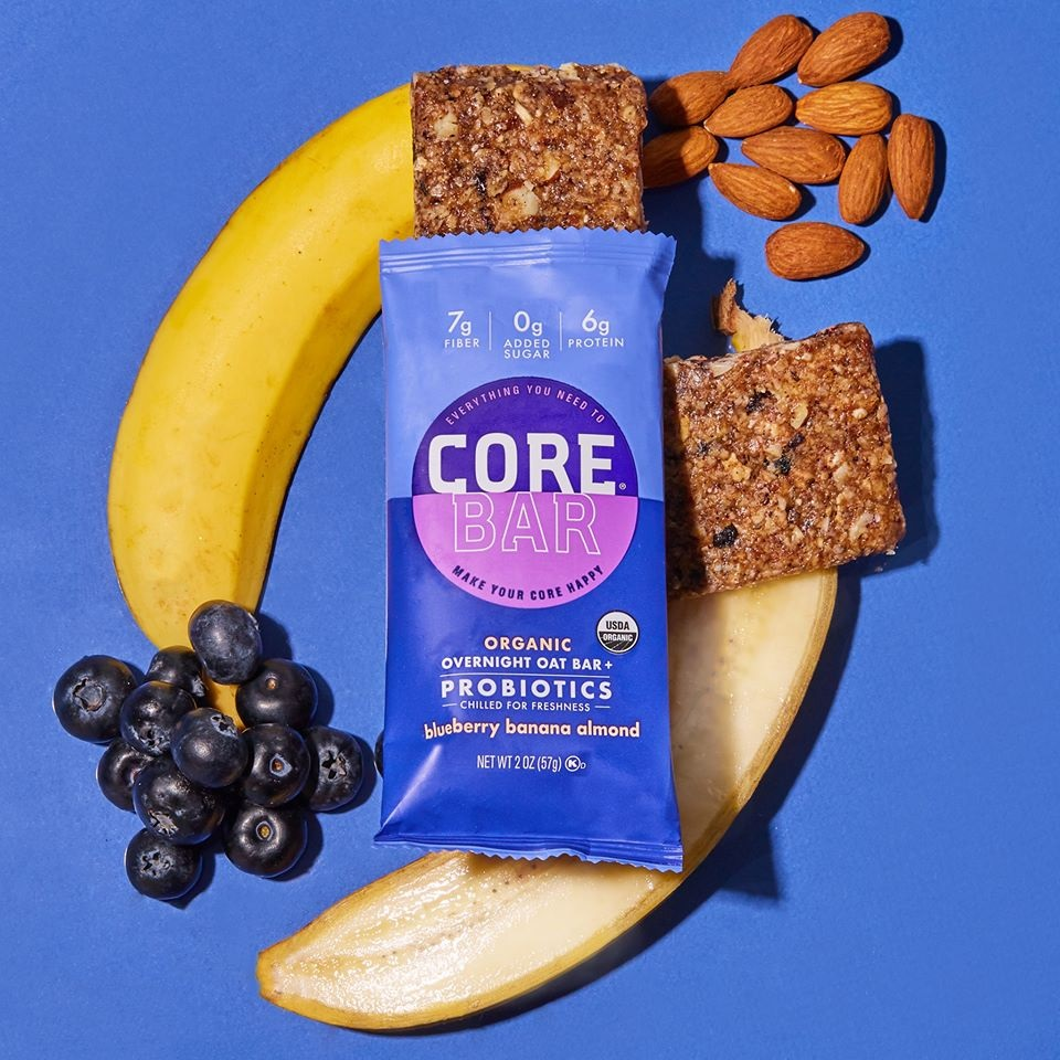 Core Bar Reviews and Info - Fresh Meal Bars, Organic, Vegan, Gluten-Free, Dairy-Free and Natural. With Prebiotics and Probiotics. Pictured: Blueberry Banana Almond
