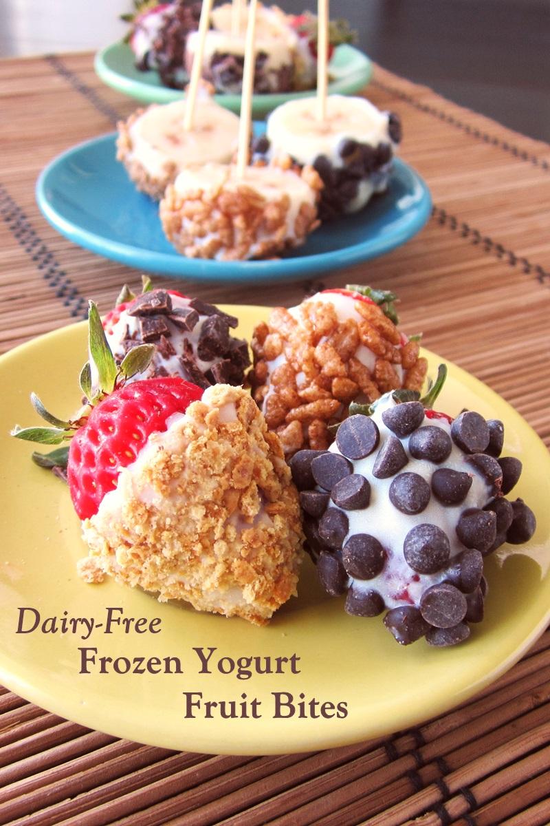 Dairy-Free Frozen Yogurt Fruit Bites Recipe - healthy, easy, plant-based, gluten-free, and allergy-friendly snack