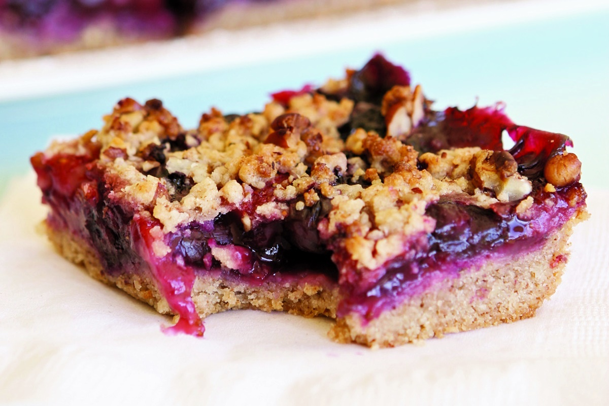 Berry Pecan Bars Recipe - a delicious, dairy-free, crumble bars for a snack or treat