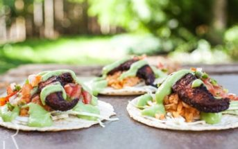 Spicy Portobello Vegan Tacos with Jalapeno Cilantro Crema and Gluten-Free Mexican Rice (dairy-free recipe)