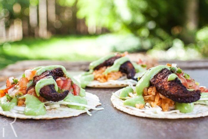 Spicy Portobello Vegan Tacos with Jalapeno Cilantro Crema and Gluten-Free Mexican Rice (dairy-free recipe)