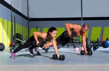 push-ups and fitness with trainer