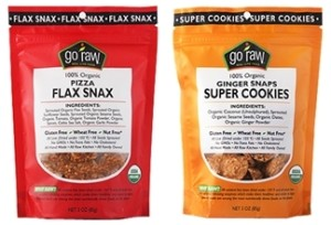Go Raw Organic Snacks - Pizza Flax Snacks and Ginger Snap Cookies
