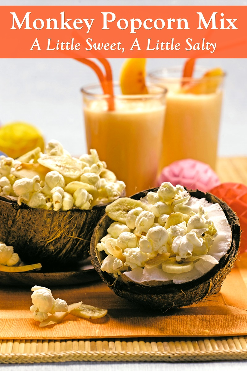 Plant-Based Monkey Popcorn Snack Mix with Coconut and Bananas (Dairy-Free, Gluten-Free, Soy-Free, Nut-Free, and Butterless!)