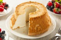Easy Angel Food Cake Recipe with Dairy-Free Custard, Blueberry Sauce or Vanilla Glaze. Naturally dairy-free, nut-free, and soy-free - classic dessert recipe.