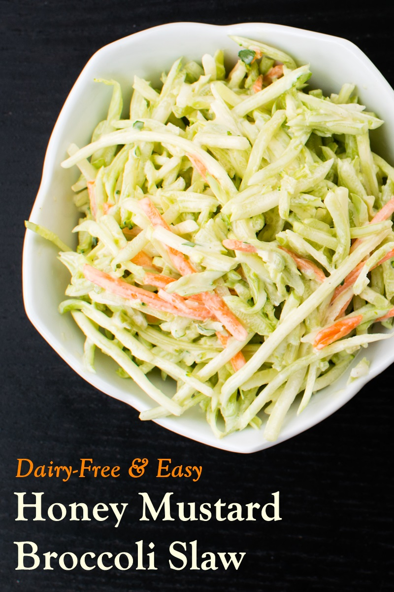 Honey Mustard Broccoli Slaw Recipe - naturally dairy-free, gluten-free, easy, and delicious. Vegan option.