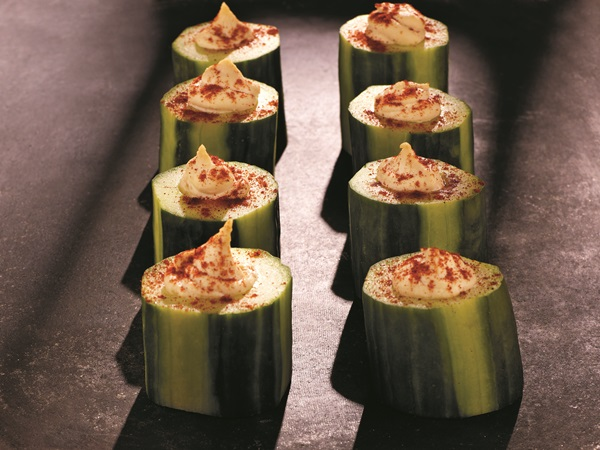 Hummus-Filled Cucumber Cups