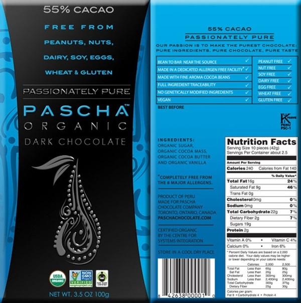 Pascha Chocolate Nutrition