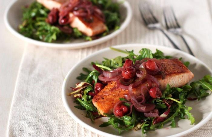 Warm Salmon and Cherry Arugula Salad Recipe