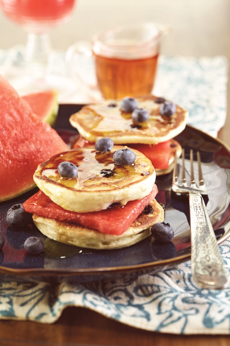 Fabulous Fruit and Pancake Sandwiches - watermelon sandwiched between two maple syrup-slathered pancakes (dairy-free recipe with options for gluten-free and vegan)