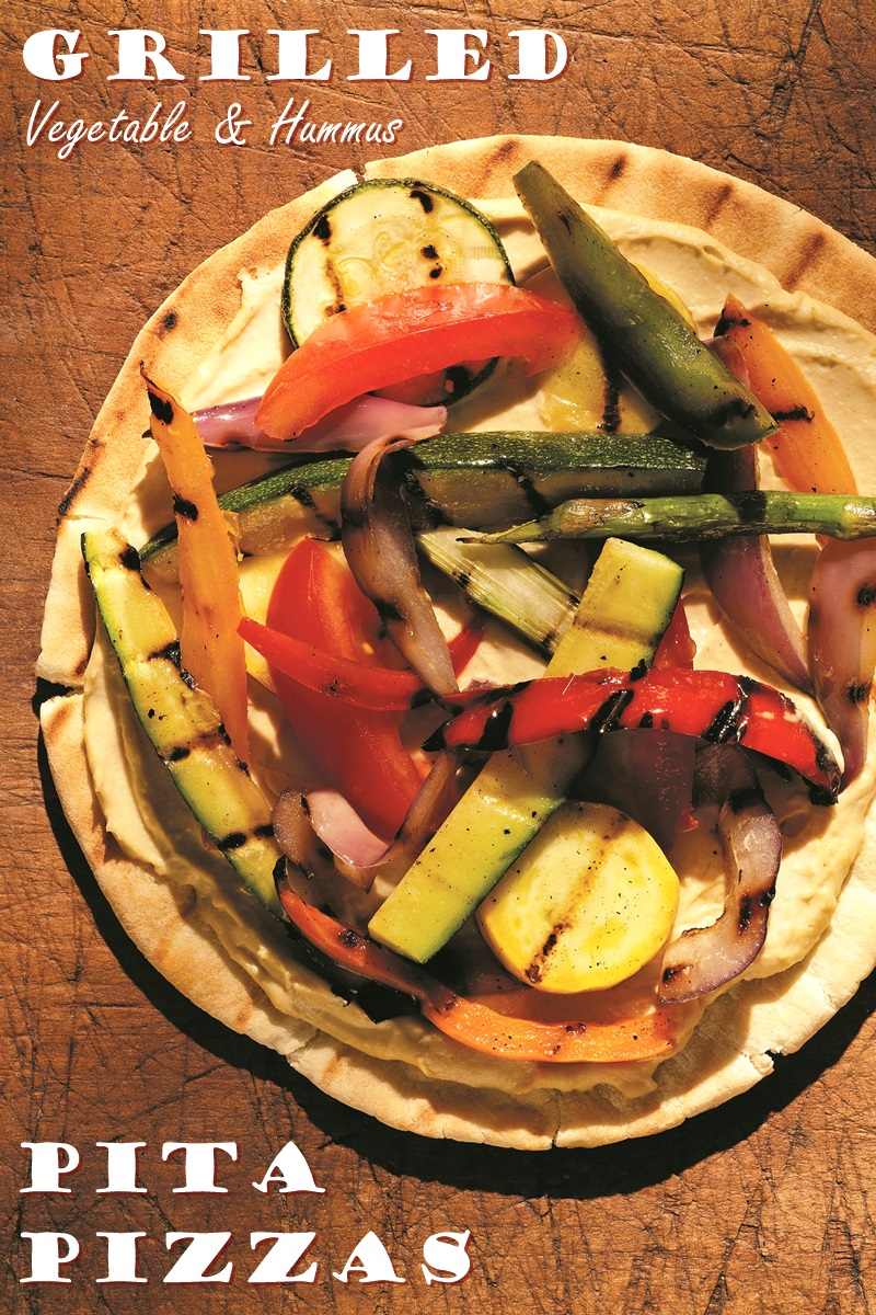 Grilled Vegetable Hummus Pita Pizza Recipe Dairy Free Vegan