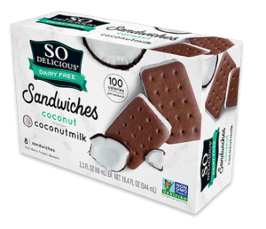 So Delicious Ice Cream Sandwiches Reviews and Info. Dairy-Free, Soy-Free, and Vegan. Classic almondmilk and coconut milk varieties. Pictured: Coconut Coconut Milk