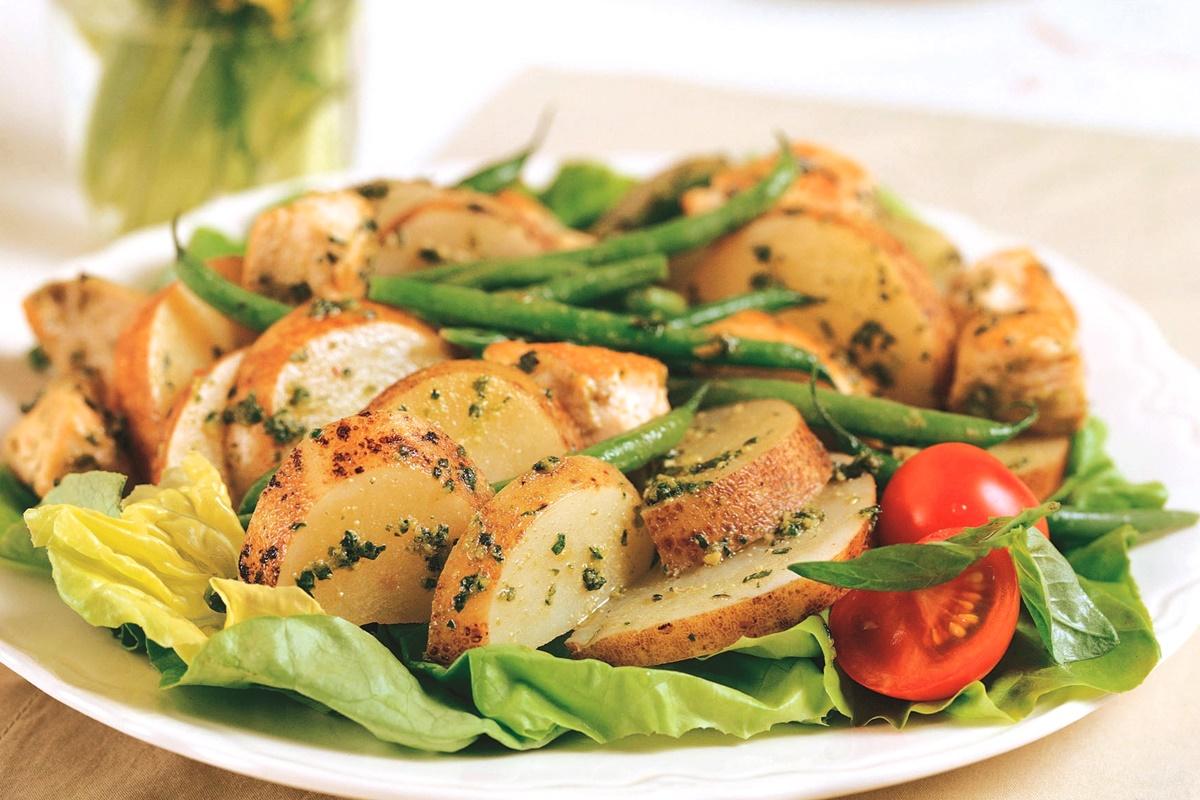 Chicken and Potato Pesto Salad Recipe (dairy-free, gluten-free, egg-free)