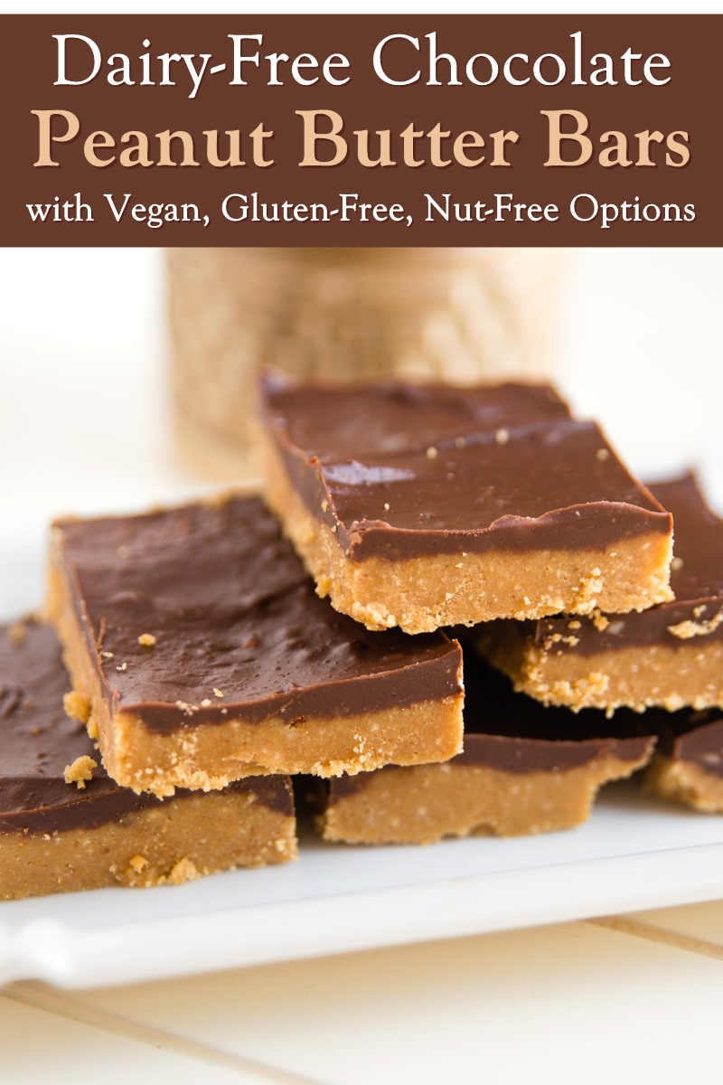 Dairy-Free Chocolate Peanut Butter Bars Recipe (Mom-made, kid-approved!) - includes vegan, gluten-free, peanut-free, and nut-free options