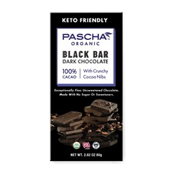 Pascha Chocolate Bars Reviews and Info - all vegan, gluten-free, dairy-free, nut-free, soy-free (top allergen-free!), with sugar-free options. Pictured: 100% cacao sugar free unsweetened chocolate