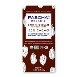 Pascha Chocolate Bars Reviews and Info - all vegan, gluten-free, dairy-free, nut-free, soy-free (top allergen-free!), with sugar-free options. Pictured: 55% cacao dark with nibs