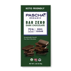 Pascha Chocolate Bars Reviews and Info - all vegan, gluten-free, dairy-free, nut-free, soy-free (top allergen-free!), with sugar-free options. Pictured: 70% cacao sugar-free dark chocolate
