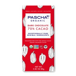 Pascha Chocolate Bars Reviews and Info - all vegan, gluten-free, dairy-free, nut-free, soy-free (top allergen-free!), with sugar-free options. Pictured: 70% cacao dark chocolate