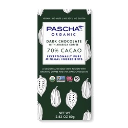 Pascha Chocolate Bars Reviews and Info - all vegan, gluten-free, dairy-free, nut-free, soy-free (top allergen-free!), with sugar-free options. Pictured: 70% cacao dark chocolate with arabica coffee