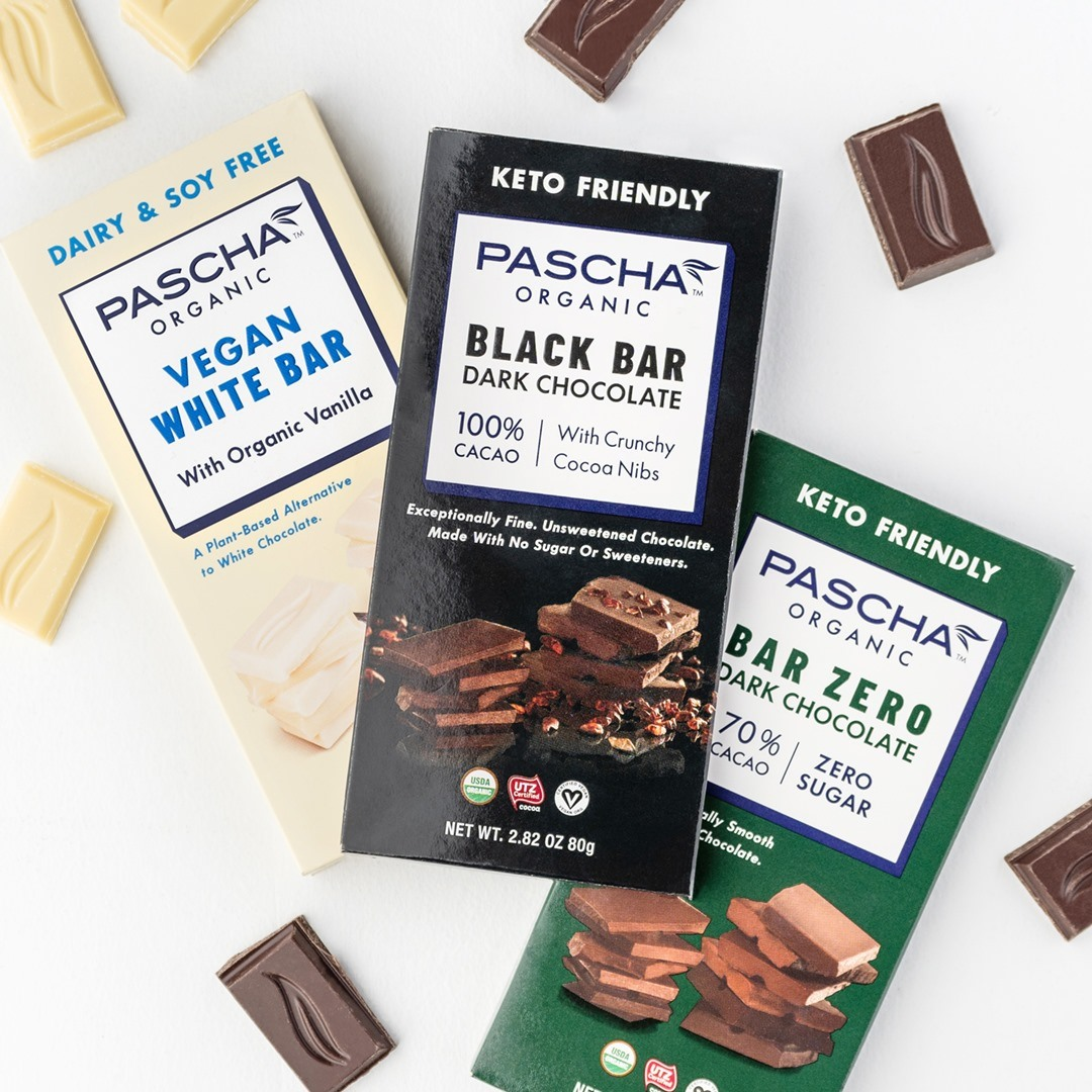Pascha Chocolate Bars Reviews and Info - all vegan, gluten-free, dairy-free, nut-free, soy-free (top allergen-free!), with sugar-free options. Pictured: vegan white chocolate, black, and sugar-free