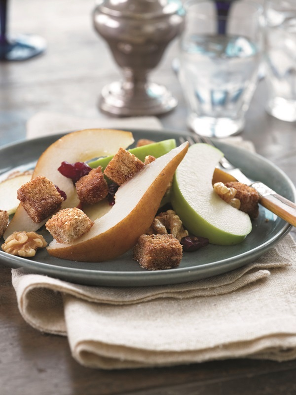 Rustic Fall Fruit Salad with Cinnamon-Sugar Croutons