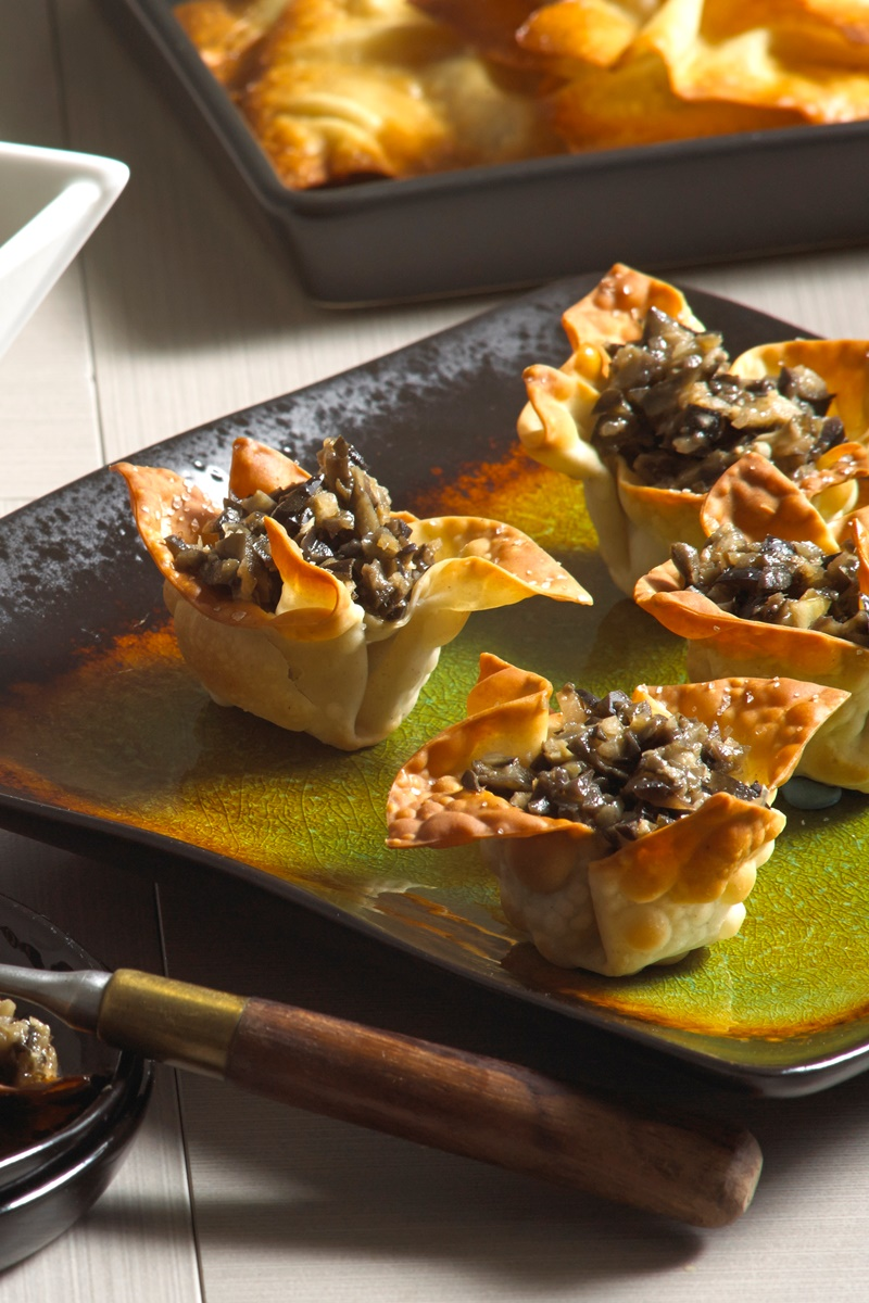 Asian-Style Spicy Tapenade with Wonton Chips (Dairy-free, Nut-free Recipe)