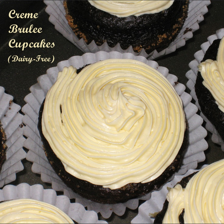 "Chocolate Creme Brulee Cupcakes Recipe - amazingly dairy-free! Moist, tender chocolate cupcakes, creme brulee filling and a rich ""buttercream"" frosting"