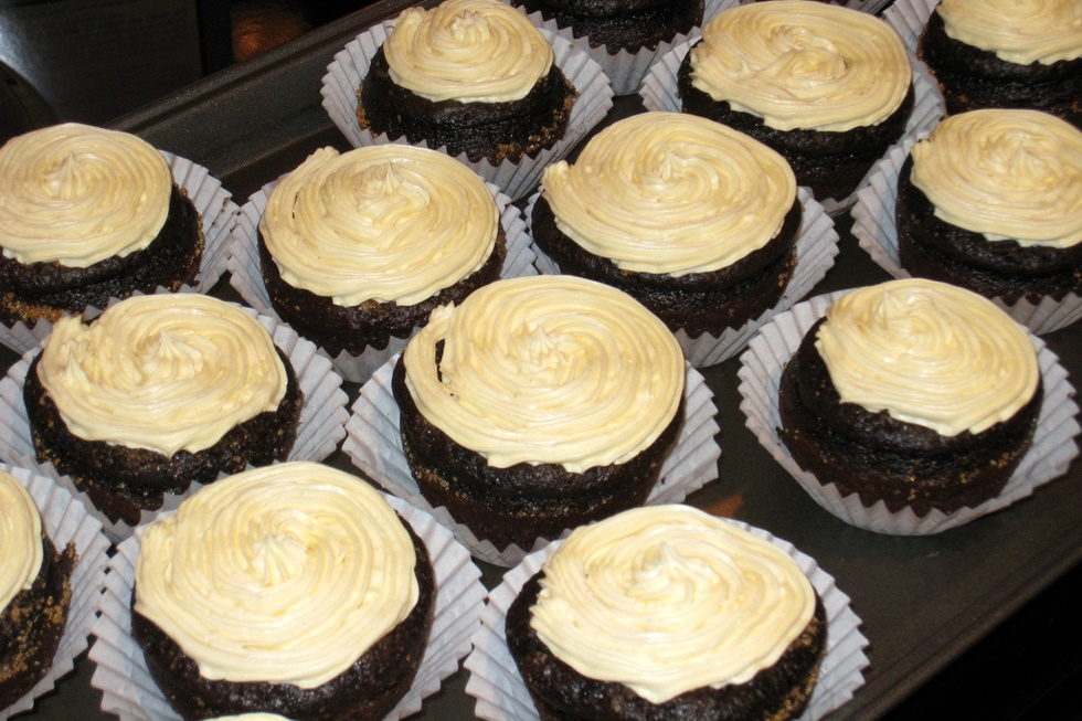 """Chocolate Creme Brulee Cupcakes - amazingly dairy-free! Moist, tender chocolate cupcakes, creme brulee filling and a rich """"buttercream"""" frosting"""