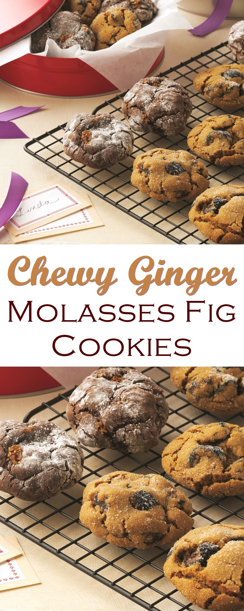 Chewy Molasses Cookies Recipe with Figs and Spices (Dairy-Free)