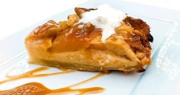 Dairy-Free and Vegan Caramel Apple Cheesecake Tarte Tatin Recipe - a rustic, flavorful, show-stopping dessert with gluten-free option