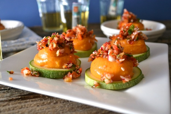 Dairy-Free 3-Course Contest Recipe - Coconut-Curry Sweet Potato Mousse on Zukes or Cukes
