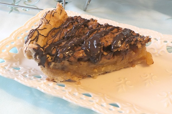 Chocolate Drizzled Orange and Bourbon Pecan Pie