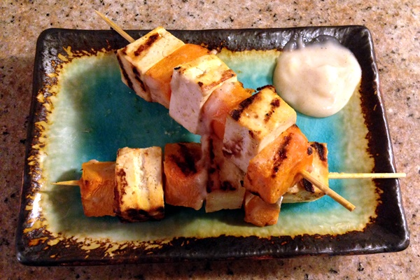 Grilled Vegan Skewers with Indian-Spiced Lime Coconut Yogurt Sauce