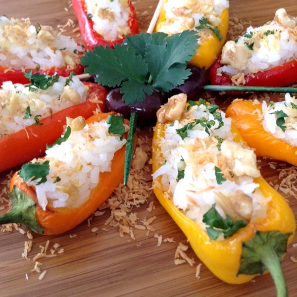 Stuffed Mini Peppers with Coconut Rice