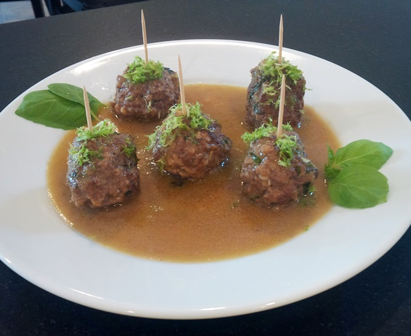 Thai Meatballs with Basil, Lime and Coconut Curry Sauce