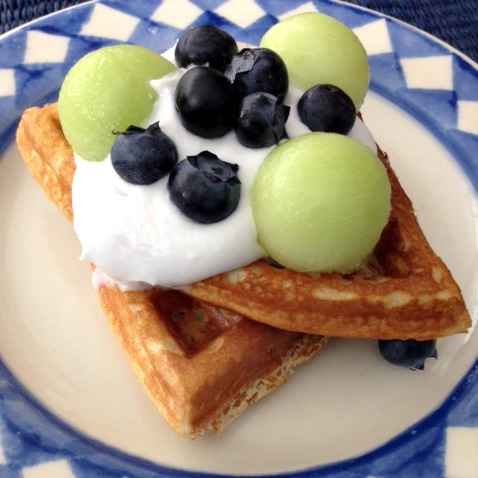Gluten-Free Dessert Waffles with Coconut Cream and Fruit