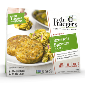 Dr. Praeger's Veggie Cakes Reviews and Info - Dairy-Free, Gluten-Free, Soy-Free, Kosher Pareve. Pictured: Brussels Sprouts Cakes