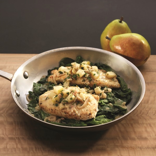 Quick & Easy Crispy Chicken Cutlets with Shallot-Pear Sauce over Wilted Spinach (recipe slightly adapted from Ellie Krieger's Weeknight Dinners