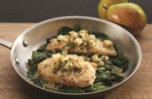 Crispy Chicken Cutlets with Pears, Shallots and Wilted Spinach