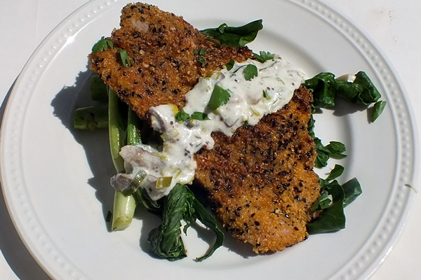 Crispy Coated Schnitzel with Creamy Leek and Mushroom Sauce