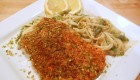 Pistachio Crusted Salmon with Creamy Lemon Asparagus Linguine
