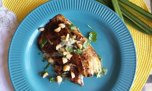 Tilapia with Kickin' Poblano Coconut Sauce and Cilantro