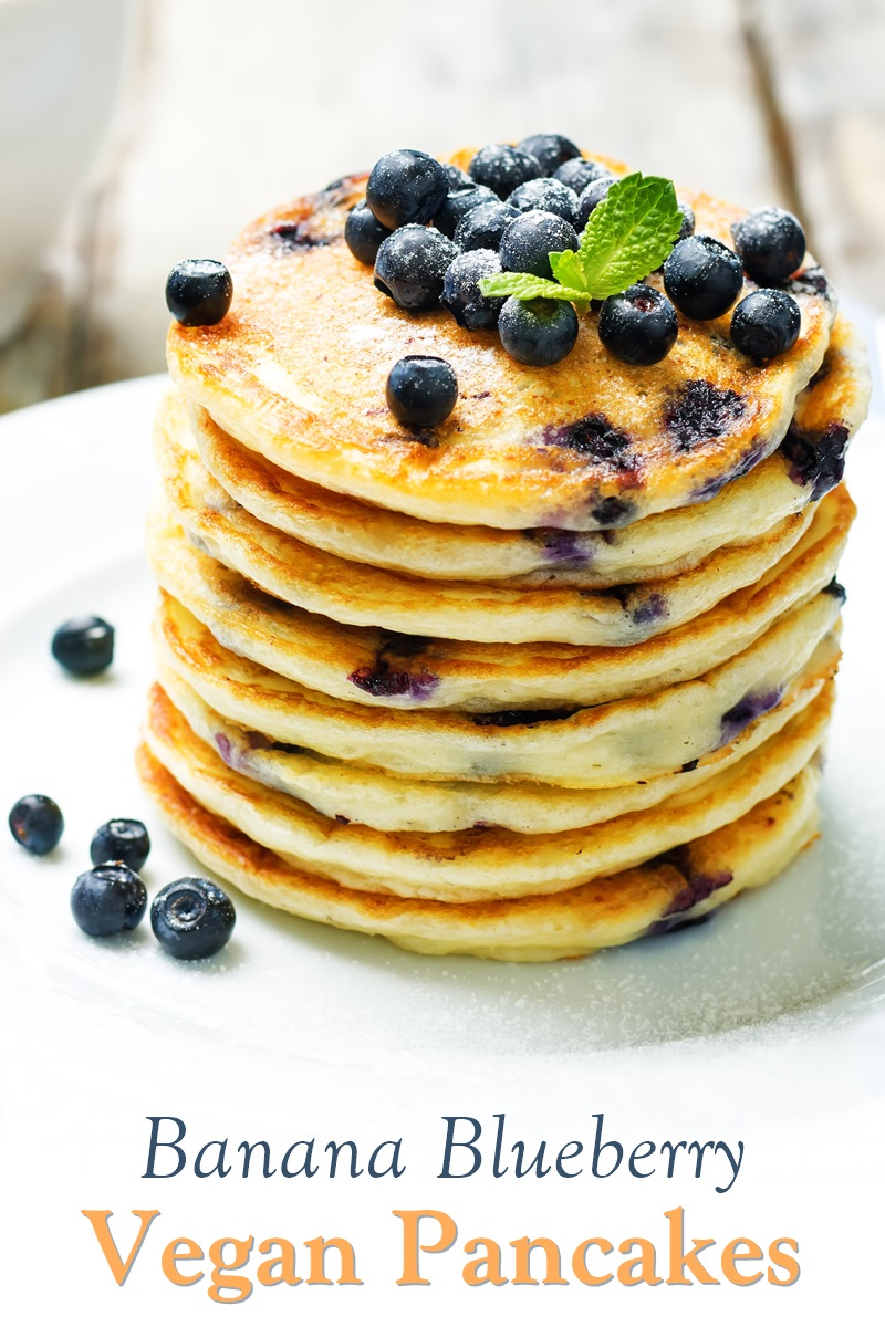 Vegan Banana Blueberry Pancakes Recipe