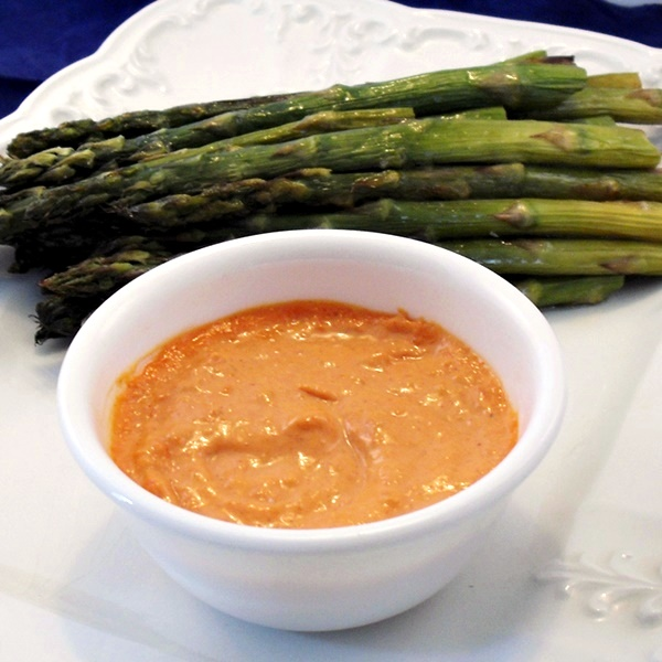 Roasted Asparagus with Dairy-Free Romesco Dipping Sauce