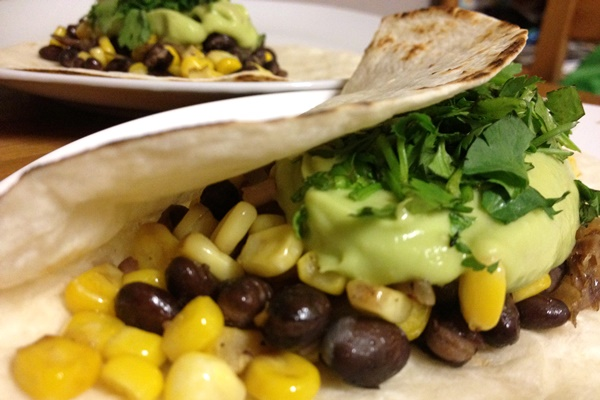 Black Bean and Corn Tacos with Avocado Cream