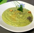 Chilled Raw Avocado Cucumber Soup in Almond Cream
